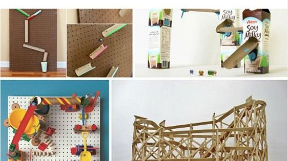 Lots of fun and creative ideas to make a marble run many for Creative ideas using recycled materials