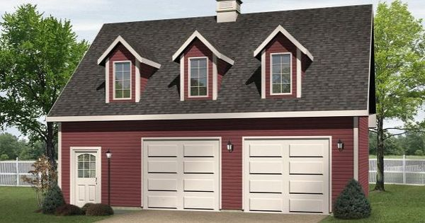 Two car drive thru garage plan with three dormers for Drive through garage door