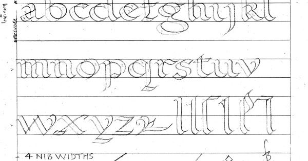 Calligraphy Worksheet Roundhand Alphabet Double Pencil
