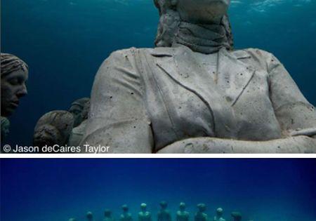 Underwater statuary, Cancun. This is amazing.