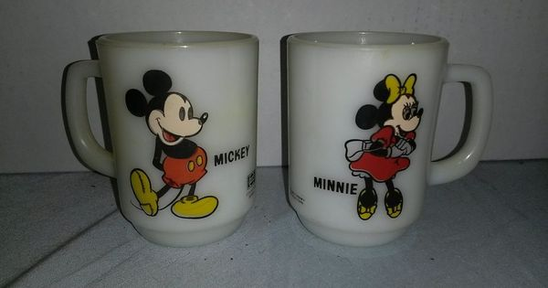mickey and minnie mouse disney pepsi anchor hocking vintage coffee mug lot of 2