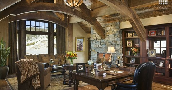 Country Home Office With Cathedral Ceiling Hardwood