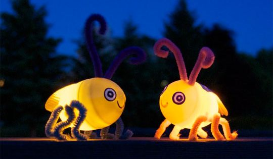 Plastic Egg Fireflies ~ These adorable bugs are made from plastic Easter
