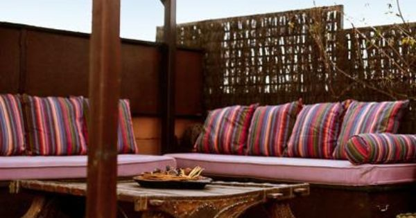 Interior Picture: Simple And Feminine Design For Morrocan Patio With Sofa In