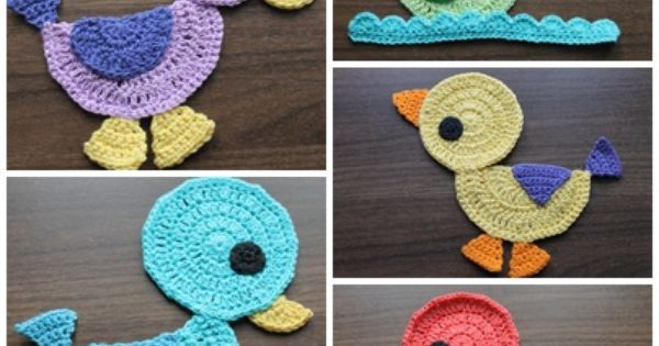 Crochet duck application, cute applique for a jumper or toddler outfit