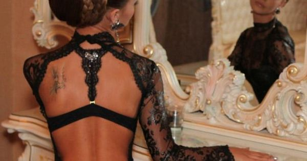 Dress Black Lace Openback Wheretoget