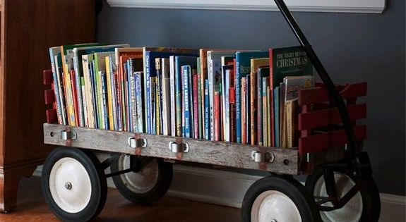 old wagon book storage - Cute idea for kids' books