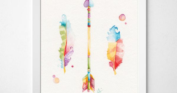 Feather Watercolor Print Arrow And Feather Art Arrow