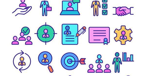 جمع الموارد البشرية الإنسان الموارد الايقونات مجموعة ناقلات رقيقة خط صورة الهدف السهم مصافحة حرف رجل اعمال فيديو Resources Icon Icon Set Vector Human Resources