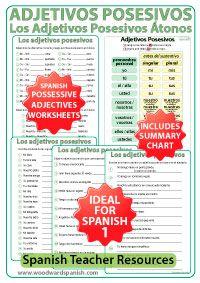 Los Adjetivos Posesivos En Español Ejercicios Possessive Adjectives Adjectives Learning Spanish