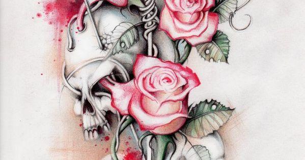 Wow tattoo skull roses | Art &ect. | Pinterest