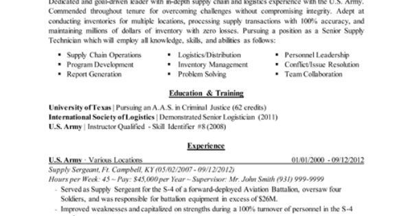 transitioning military to civilian resumes Military-to-Civilian - logistician resume