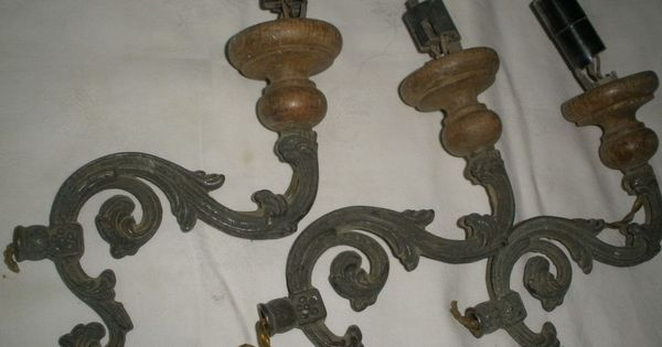 Details About Antique Of 3 Bronze Brass Wood Plate Arms For Lamp