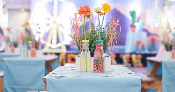 Ellie S Coachella Themed Party Table Centerpiece Setup