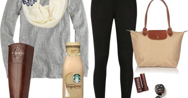 Basic white girl outfit. Starbucks, yogas, something monogrammed, and tori Burch. Check
