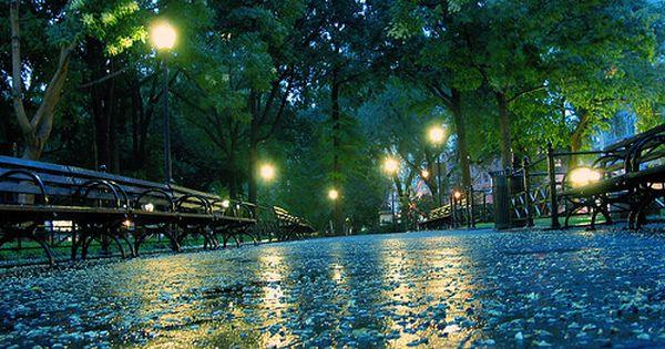 Rainy Night, Central Park, New York City photo via when