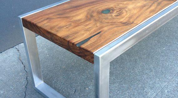 Modern mild steel & solid Black Walnut coffee table. Handcrafted in Portland,