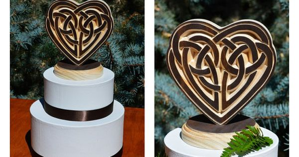 celtic knot heart wood carved wedding cake topper your