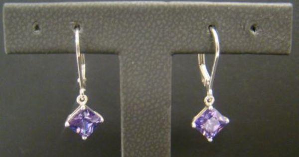 925 Sterling Silver Purple Princess Cut Earrings