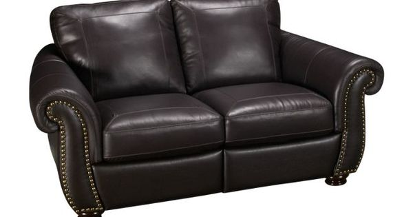 Softaly Nailhead Leather Power Loveseat Recliner