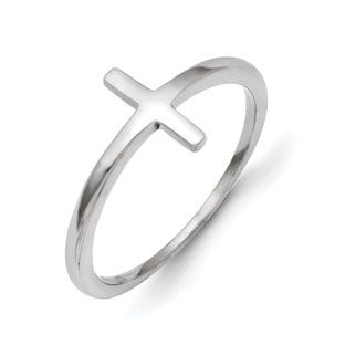 Cross Rings Polished 14k White Gold Sideways Cross Ring Jewelry Available Exclusively At Gemologica Com Cross Ring Sideways Cross Ring Gold Sideways Cross