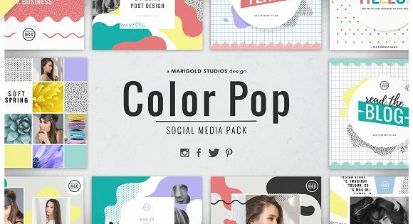 The Color Pop Social Media Pack is a fun and bold social media pack design inspired by the Memphis Trend & Pop Art Inspired Designs.