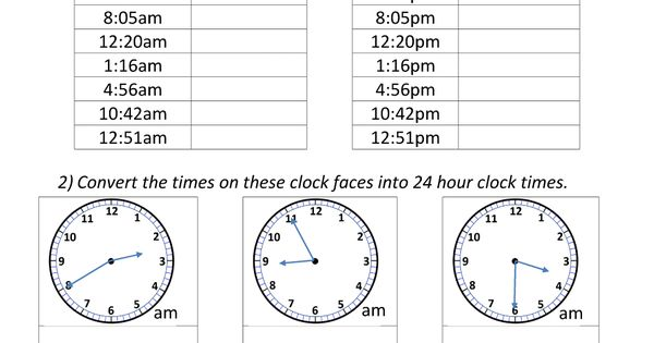 24 Hour Clock Conversion 12 To 24 Hour Clock 2