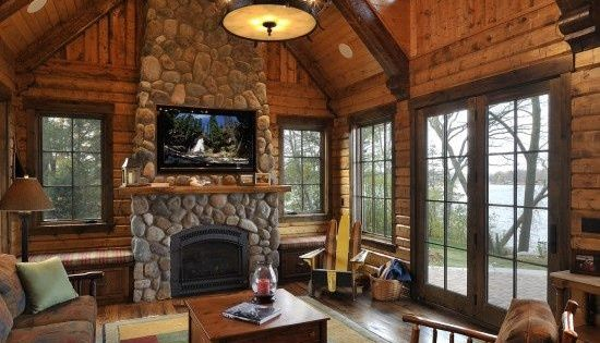 Living Room Log Cabin Kitchens Design Pictures