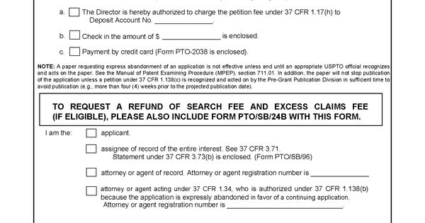 Form PTO/SB/24a Petition for Express Abandonment To Avoid