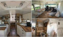 It Used To Be A School Bus Now It S A Cozy Loft On Wheels Met Afbeeldingen House Kastdeuren Bus