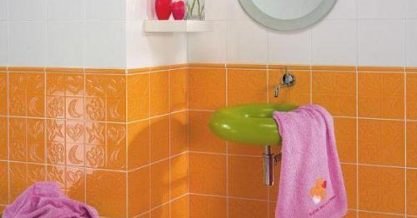 Ba o decoraci n naranja dise o ba os pinterest - Decoracion banos azulejos ...