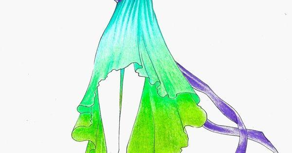 Green and blue summer dress sketch