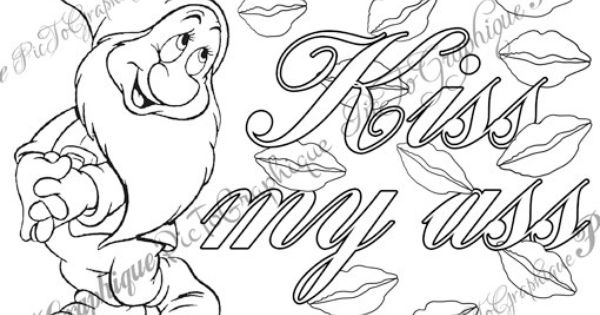 """Butt coloring pages ~ Coloring Page """"Kiss my ass"""" from Sweary Colouring Book Vol ..."""