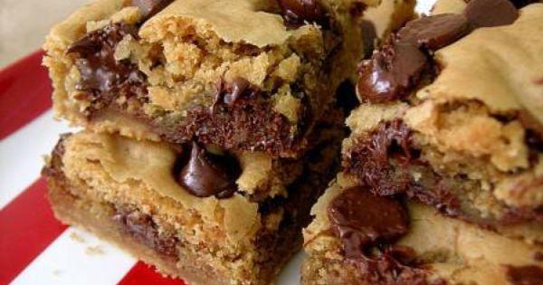 Peanut Butter Chocolate Chip Blondies Recipe! | Desserts | Pinterest ...