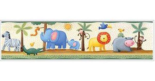 Cenefa Infantil Adhesiva Animales Selva Ref 15693734 Leroy Merlin Arte De Pared De Elefante Decoraciones De Guardería Decoracion Habitacion Niño