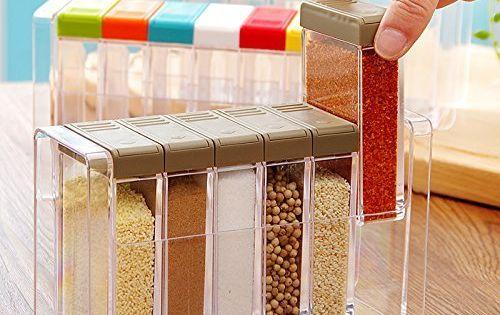 Amazon Com Yixin Transparente Condimento Rack De Especias Almacenamiento Contenedor Condimento Tarros Cruet Con Tapa Y Cuchara Utensil