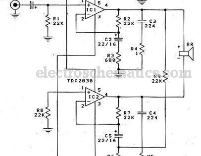 audio amplifier tda2030 bridge circuit