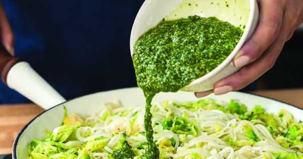 """Pesto """"Zoodles"""" with Brussels Sprouts"""