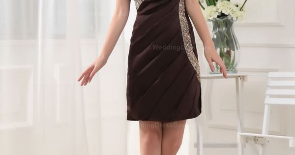 Beading Column Sweetheart Taffeta Mini-length Brown Prom Dress- $132.15 http://www.fashionos.com custom made