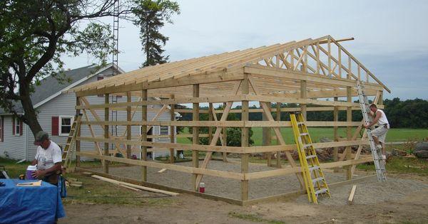 Trusses raised 24 x 30 pole barn garage construction for Garage construction ideas