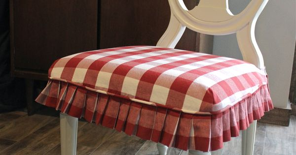 Red And White Buffalo Check Slipcovers For Dining Chairs