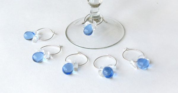 Wine Glass Charms with Blue Teardrop beads by ElvishThings #wine #wineglass #charms #wedding #party #decor #stemware #tableware