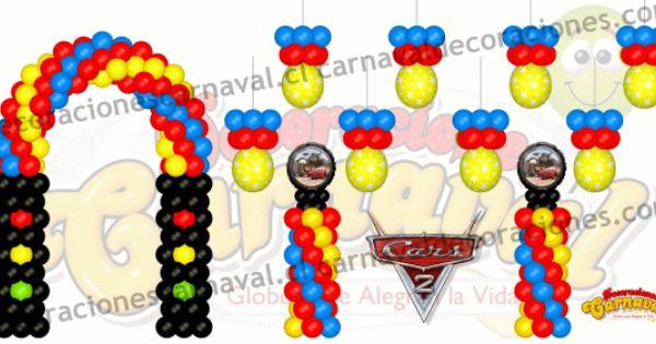 rayo mcqueen y con n 95 en carton decoracion con globos cars 2 62