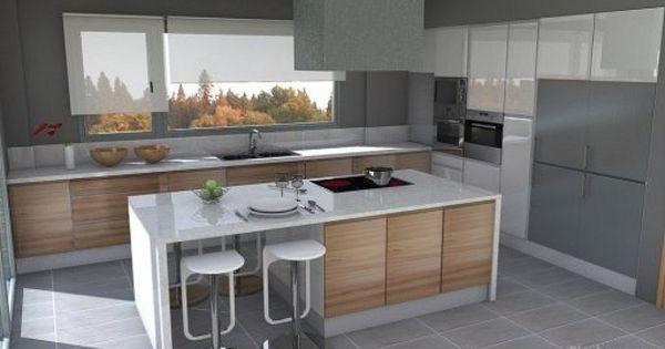 Cocina abierta al salon buscar con google cuina for Cocinas integrales con isla al centro