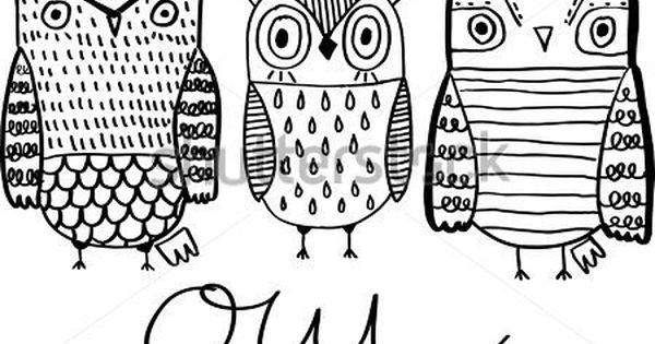 Https Thumb7 Shutterstock Com Display Pic With Logo 4026547 428134561 Stock Vector Set Of Owls Hand Drawn Black White Art C ศ ลปะลายม อ สม ดระบายส ภาพประกอบ