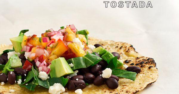 Skinny lunch recipe idea: Peach Salsa Tostada.