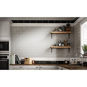 Wickes Cosmopolitan Gloss White Ceramic Wall Tile 100 X 200mm Wickes Co Uk White Ceramic Tiles Ceramic Wall Tiles Black Ceramic Tiles
