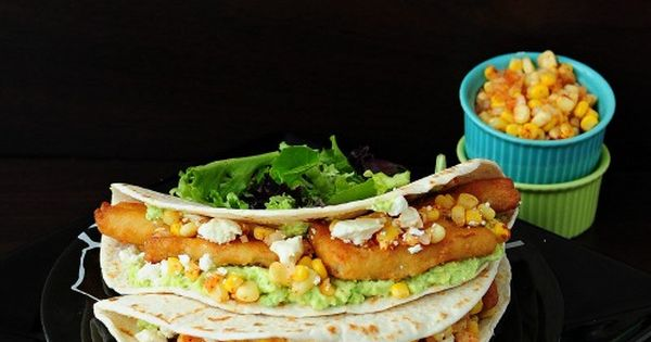 Mediterranean Fish Tacos with pineapple corn salsa!! http://backforsecondsblog.com tacos dinner seafood Taco
