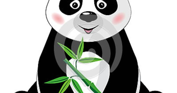Sitting Little Cute Panda With Green Bamboo Isolated On White