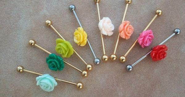 Choose Your Color- Rose Industrial Barbell Piercing Surgical Steel Ear Jewelry- Azeeta